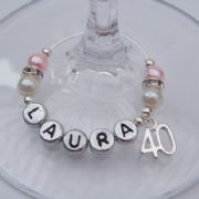 40th Birthday Personalised Wine Glass Charm - Elegance Style